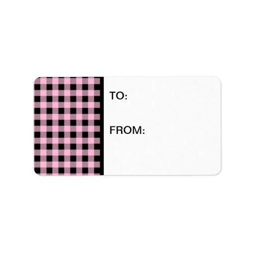 Rosa y negro de la guinga etiqueta de dirección