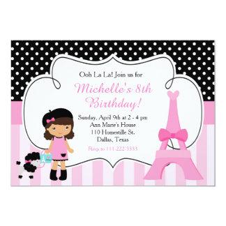 """Rosa y negro de la torre Eiffel de París del la Invitación 5"""" X 7"""""""