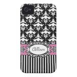 Rosa y negro del damasco del Demoiselle de París iPhone 4 Case-Mate Cobertura