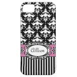 Rosa y negro del damasco del Demoiselle de París iPhone 5 Coberturas