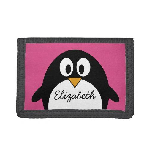 rosa y negro lindos del pingüino del dibujo animad