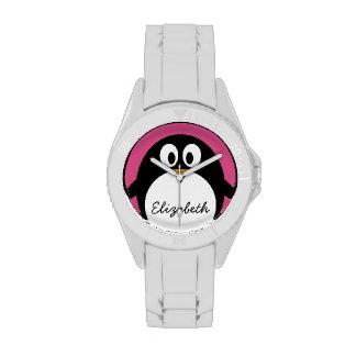 rosa y negro lindos del pingüino del dibujo animad relojes de pulsera