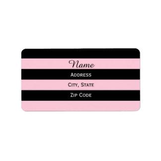 Rosa y negro rayados etiquetas de dirección