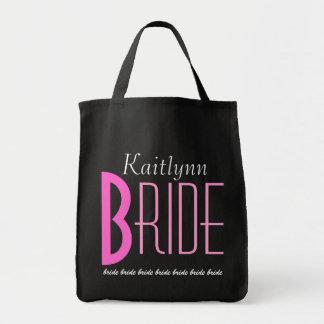 Rosa y novia personalizada negro bolsa tela para la compra