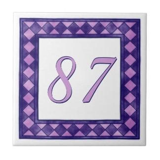 Rosa y número de casa a cuadros grande púrpura azulejo cuadrado pequeño