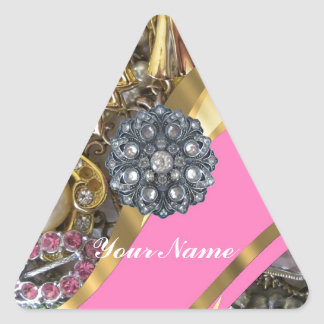 Rosa y oro bling pegatina triangular