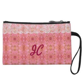 Rosa y oro con el mini bolso de embrague del cordó