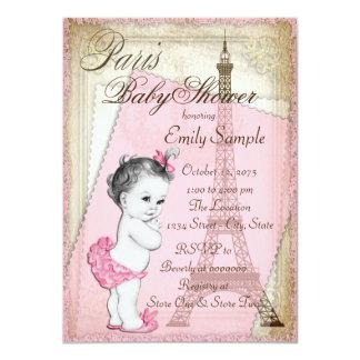 """Rosa y oro de la fiesta de bienvenida al bebé de invitación 4.5"""" x 6.25"""""""