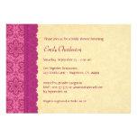 Rosa y oro florales y ducha nupcial V03C del cordó Invitacion Personalizada