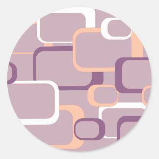 Rosa y pegatina cuadrado retro púrpura