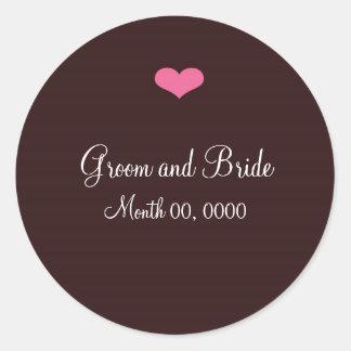 Rosa y pegatina del boda de Brown