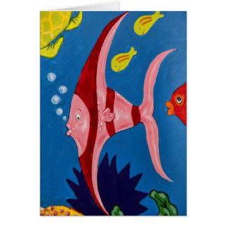 Rosa y pescados tropicales rojos felicitación