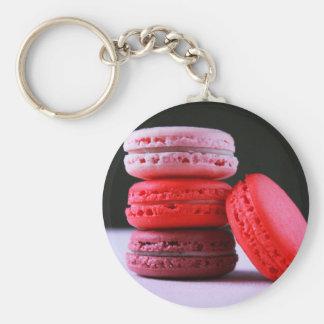 Rosa y pila magenta de galletas de Macaron del Llavero Redondo Tipo Pin