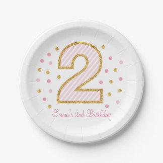 Rosa y placas de papel del segundo cumpleaños del plato de papel de 7 pulgadas