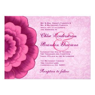 Rosa y plantilla del boda de la flor de Fuschia Invitaciones Personales