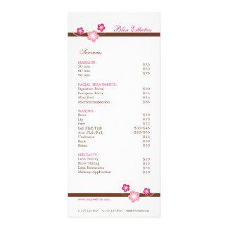Rosa y plantilla del menú del balneario de Brown Lona Publicitaria