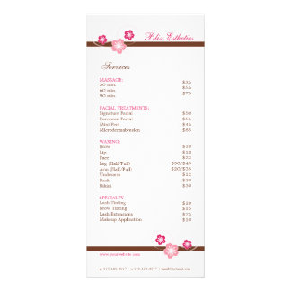 Rosa y plantilla del menú del balneario de Brown Lonas Personalizadas