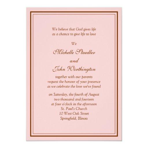Rosa y plantilla simples de la invitación del boda