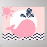 Rosa y poster del cuarto de niños de la ballena de