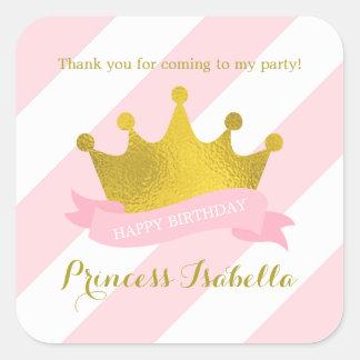 Rosa y princesa Birthday de la tiara del oro Pegatina Cuadrada