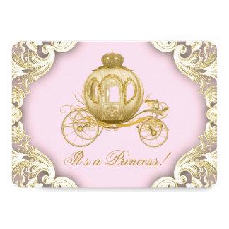 """Rosa y princesa real fiesta de bienvenida al bebé invitación 5"""" x 7"""""""