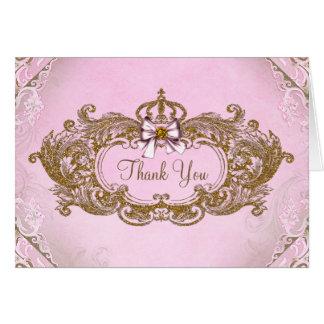 Rosa y princesa Thank You del oro Tarjeta Pequeña