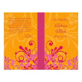 """Rosa y programa floral abstracto anaranjado del folleto 8.5"""" x 11"""""""
