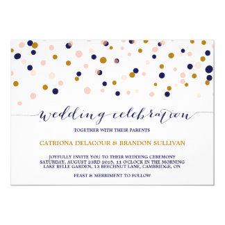 Rosa y puntos del confeti del oro que casan la invitación 12,7 x 17,8 cm