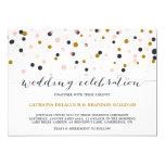 Rosa y puntos del confeti del oro que casan la invitacion personalizada