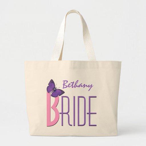 Rosa y púrpura con la novia personalizada mariposa bolsa tela grande