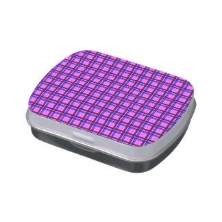 Rosa y púrpura de la tela escocesa de tartán jarrones de dulces