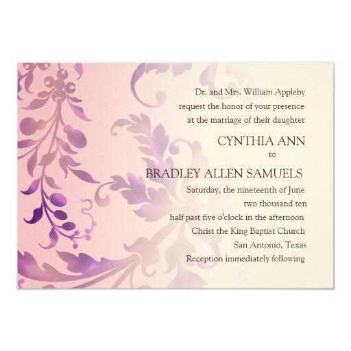 Rosa y púrpura florales del damasco de la invitación