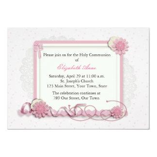 Rosa y racimo floral de la crema religioso invitación 12,7 x 17,8 cm