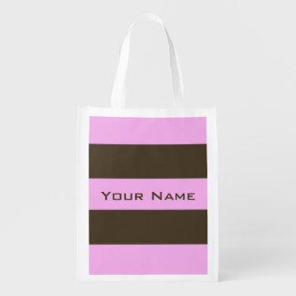 Rosa y rayas anchas marrones bolsas de la compra