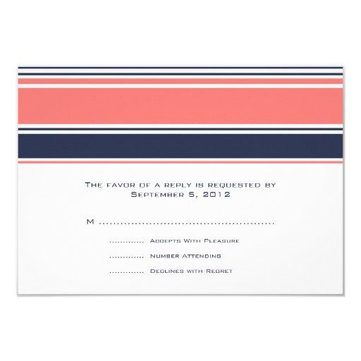 Rosa y rayas modernas azules que casan RSVP Invitación 8,9 X 12,7 Cm