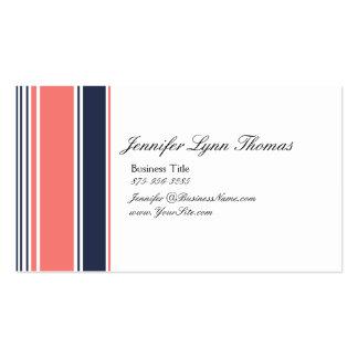 Rosa y rayas modernas azules tarjetas de visita