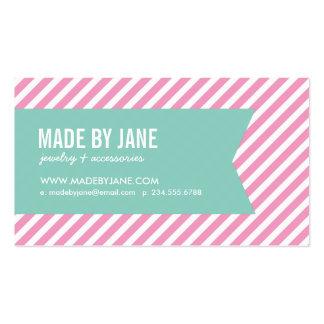 Rosa y rayas y cinta modernas de la aguamarina tarjetas de visita