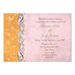 Rosa y recepción nupcial floral anaranjada comunicado personalizado