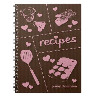 Rosa y recetas personalizados del artículos de libro de apuntes