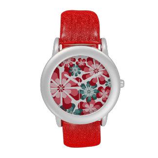 Rosa y reloj de las flores de la MOD del trullo
