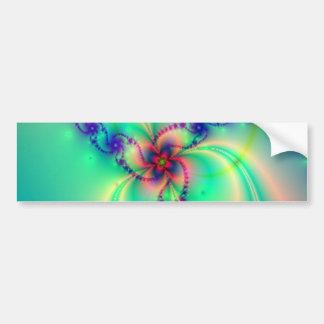 Rosa y remolino azul del fractal de la aguamarina etiqueta de parachoque