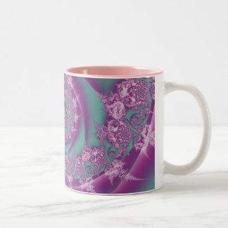 Rosa y remolino bonitos de la aguamarina taza de café