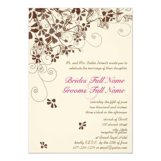 Rosa y remolinos de la flor de Brown que casan Invitación 12,7 X 17,8 Cm