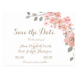 Rosa y reserva floral gris la fecha postal