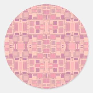 Rosa y revoltijo geométrico de la crema pegatina redonda