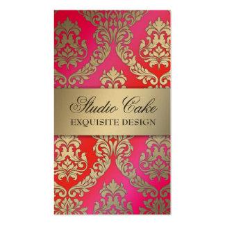 Rosa y rojo de la torta de la cereza del damasco tarjetas de visita