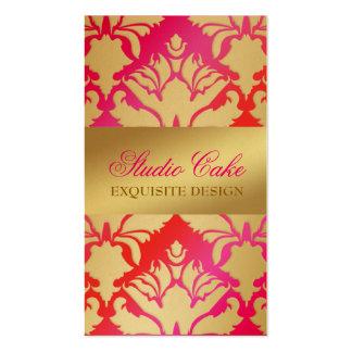 Rosa y rojo de la torta de la cereza del reflejo tarjetas de visita