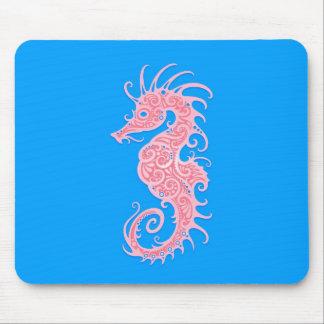 Rosa y Seahorse tribal azul Tapete De Ratón