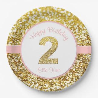 Rosa y segundas placas del cumpleaños del oro platos de papel
