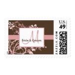 Rosa y sellos del boda del monograma de Brown